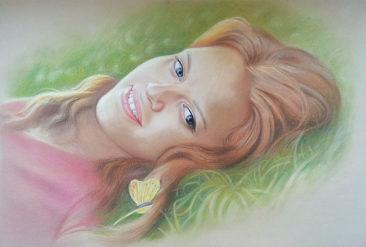 Настоящий портрет пастелью для любимой девушки во Владикавказе, просто и со вкусом!