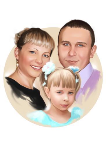 Семейный портрет по фото на холсте во Владикавказе — правильный подарок!