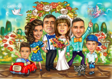 Шарж по фото на годовщину свадьбы на заказ во Владикавказе…